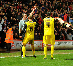 Watford's Gabriele Angella gets sent off.  - Photo mandatory by-line: Alex James/JMP - Tel: Mobile: 07966 386802 18/01/2014 - SPORT - FOOTBALL - Goldsands Stadium - Bournemouth - Bournemouth v Watford - Sky Bet Championship