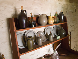 Washington DC; USA: The Georgetown area, known for its shopping and historic brick homes.  Display of 18th century crockery at the oldest house in Washington DC, known as the Old Stone House..Photo copyright Lee Foster Photo # 20-washdc79792