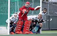 AMSTELVEEN -  verdediging Amsterdam met keeper Philip van Leeuwen (Amsterdam) , Daan Dekker (Amsterdam)    tijdens   hoofdklasse hockeywedstrijd mannen,  AMSTERDAM-PINOKE (1-3) , die vanwege het heersende coronavirus zonder toeschouwers werd gespeeld. COPYRIGHT KOEN SUYK