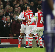 Arsenal's Alexis Sanchez celebrates scoring his sides second goal<br /> <br /> - Champions League Group D - Arsenal vs Anderlecht- Emirates Stadium - London - England - 4th November 2014  - Picture David Klein/Sportimage
