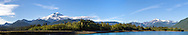 Mount Baker and Mount Shuksan from Baker Lake in the Mount Baker-Snoqualmie National Forest in Washington State, USA