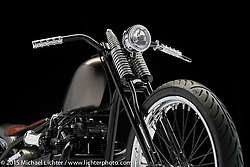 """""""Sid"""", built from a 1970 Bonneville Triumph by Cole Rogers of 138 Cycle Fabrications in Lebanon, OH. Photographed by Michael Lichter at the Columbus Easyriders Show on February 22, 2015. ©2015 Michael Lichter."""