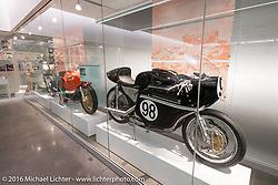 Recently installed racing display at the Harley-Davidson Museum during the Milwaukee Rally. Milwaukee, WI, USA. Saturday, September 3, 2016. Photography ©2016 Michael Lichter.