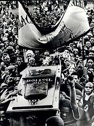 Sep. 29, 1977 - 20,000 Attend The Funeral of Black Leader Steve Biko: An estimated 20,000 people attended the funeral service of 30, year-old Steve Biko, the black leader who died a fortnight ago in a police cell in Pretoria. It took place in a Sports Stadium in King William's Town, South Africa. Speakers at the five hour long service belief that Biko died violently. Photo shows The coffin of Black Leader Biko arrives at the Sports Stadium in King William's Town for the service. (Credit Image: © Keystone Press Agency/Keystone USA via ZUMAPRESS.com)