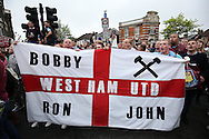 Fans chanting outside Boleyn Ground before k/o. scenes around the Boleyn Ground, Upton Park in East London as West Ham United play their last ever game at the famous ground before their move to the Olympic Stadium next season. Barclays Premier league match, West Ham Utd v Man Utd at the Boleyn Ground in London on Tuesday 10th May 2016.<br /> pic by John Patrick Fletcher, Andrew Orchard sports photography.