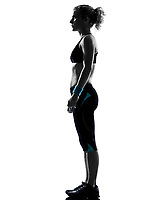 woman workout fitness posture body building standing on studio isolated white background