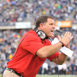 Oct 31, 2009; East Hartford, CT, USA; Rutgers head coach Greg Schiano calls a timeout during second half Big East NCAA football action in Rutgers' 28-24 victory over Connecticut at Rentschler Field.