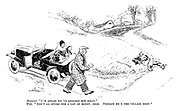 """Motorist. """"I'm afraid we've knocked him silly."""" Wife. """"Don't go giving him a lot of money, dear. Perhaps he's the village idiot."""""""
