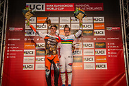 #313 (KIMMANN Niek) NED and #1 (SMULDERS Laura) NED are the winners of Round 4 of the 2019 UCI BMX Supercross World Cup in Papendal, The Netherlands