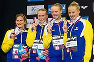GARDELL Stina (L)<br /> SJOESTROEM Sarah<br /> HANSSON Louise<br /> COLEMAN Michelle<br /> Team Sweden Silver Medal<br /> 4x200m Freestyle Women Final<br /> 32nd LEN European Championships <br /> Berlin, Germany 2014  Aug.13 th - Aug. 24 th<br /> Day09 - Aug. 21<br /> Photo G. Scala/Deepbluemedia/Inside
