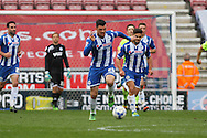 Haris Vuckic of Wigan Athletic makes a break. Skybet football league one match , Wigan Athletic v Southend Utd at the DW Stadium in Wigan, Lancs on Saturday 23rd April 2016.<br /> pic by Chris Stading, Andrew Orchard sports photography.