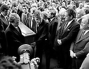Family and friends of George Colley carry his remains into the Church of Three Patrons, Rathgar, Dublin. Many Fianna Fáil colleagues were present, including Charles Haughey TD and Brian Lenihan TD. In a long and distinguished political career, Colley had served as Minister for Education, Minister for Industry and Commerce, Minister for Finance, Minister for the Public Service, and Tánaiste.<br />