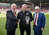 Sheffield Utd groundsman Glenn Nortcliffe receives an award for the best pitch in league one during the English League One match at  Bramall Lane Stadium, Sheffield. Picture date: April 30th 2017. Pic credit should read: Simon Bellis/Sportimage
