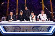 Editorial use only. No book publishing.<br /> Mandatory Credit: Photo by Dymond/Thames/Syco/Shutterstock (9942426ep)<br /> Robbie Williams, Ayda Williams, Dermot O'Leary, Louis Tomlinson and Simon Cowell<br /> 'The X Factor' TV show, Series 15, Episode 18, London, UK - 28 Oct 2018