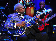 Legendary musician B B King performs at the Beau Rivage in Biloxi as part of the Mississippi Grammy Legacy Celebration Tuesday June 7,2011. The Grammys announced they are opening a museum in Cleveland Mississippi, the only other Grammy Music Museum in the Country other than in LA, CA. PHOTO©SUZI ALTMAN.COM.. Indianola Mississippi- Multi Grammy winner and legendary blues guitarist B.B. King plays his hometown crowd outside his museum the  B.B. King Delta Interpretive Center and Museum. Photo© Suzi Altman