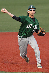 21 April 2015:  Gino Cavalieri throws a fielded ball to first base during an NCAA Inter-Division Baseball game between the Illinois Wesleyan Titans and the Illinois State Redbirds in Duffy Bass Field, Normal IL