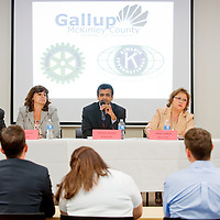 030713       Cable Hoover<br /> <br /> City council candidates Bryan Wall, left, Debbie Garcia, Yogash Kumar, Linda Garcia and Mary Ann Armijo respond to questions during a debate at the Gallup Chamber of Commerce Thursday.