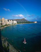 Rainbow, Diamond Head, Waikiki, Oahu, Hawaii, USA<br />