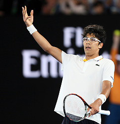 MELBOURNE, Jan. 22, 2018  Chung Hyeon of South Korea reacts after winning the men's singles fourth round match against Novak Djokovic of Serbia at Australian Open 2018 in Melbourne, Australia, Jan. 22, 2018. Chung Hyeon won by 3-0. (Credit Image: © Li Peng/Xinhua via ZUMA Wire)