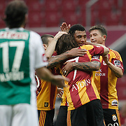 Galatasaray's Colin Kazim RICHARDS (C) celebrate his goal with team mate during their Turkish Super League soccer match Galatasaray between Konyaspor at the T T Arena at Seyrantepe in Istanbul Turkey on Sunday, 20 May 2011. Photo by TURKPIX
