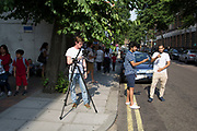 London, UK. Monday 22nd July 2013. Media frenzy outside St Mary's Hospital in London on the day that Kate Middleton Duchess of Cambridge was taken into hospital after going into labour. Immediately the global media village began to buzz with activity and the Royalist public started to arrive in numbers.