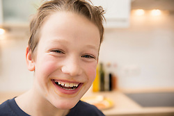 Portrait of smiling boy with smeared mouth