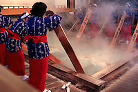 """The Kusatsu tradition of yumomi or """"water massage"""" is used to cool off the area's scalding waters, rather than dilute it with cold, the hot water is stirred with wooden paddles and cooled by the mountain air.  To pass the time during the water massaging, the girls sing Kusatsu Bushi an old folk song famous throughout Japan."""