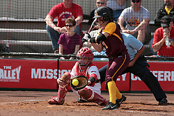 09 May 2014:  Stephanie Gallant catches during an NCAA Missouri Valley Conference (MVC) Championship series women's softball game between the Loyola Ramblers and the Illinois State Redbirds on Marian Kneer Field in Normal IL