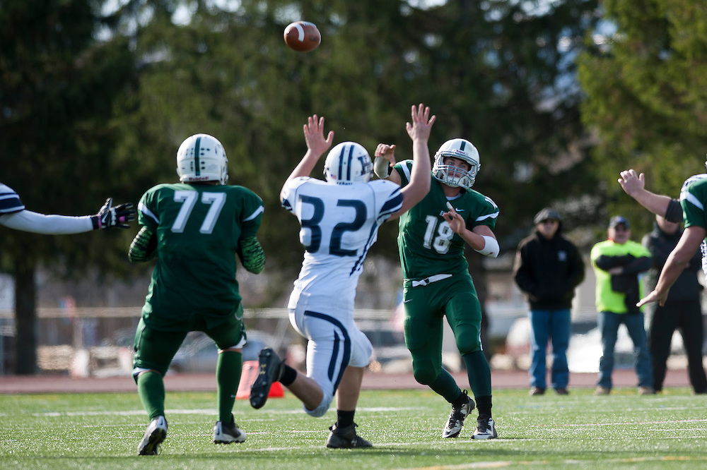 The Vermont state division II high school football championship game between the Fair Haven Slaters and the Rice Green Knights at Rutland high school on Saturday November 8, 2014 in Rutland, VT.