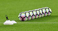 A close up of a line of Nike Premier League footballs<br /> <br /> Photographer Chris Vaughan/CameraSport<br /> <br /> The Premier League - Hull City v Manchester United  - Saturday 27 August 2016 - KCOM Stadium - Hull<br /> <br /> World Copyright © 2016 CameraSport. All rights reserved. 43 Linden Ave. Countesthorpe. Leicester. England. LE8 5PG - Tel: +44 (0) 116 277 4147 - admin@camerasport.com - www.camerasport.com