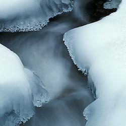 Ice and tumbling water on Jordan Stream.  Carriage Roads.  Acadia N.P., ME.