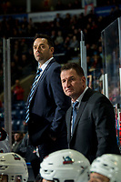 KELOWNA, BC - JANUARY 3: Kelowna Rockets' head coach Adam Foote and assistant coach Vernon Fiddler stand on the bench against the Victoria Royals  at Prospera Place on January 3, 2020 in Kelowna, Canada. (Photo by Marissa Baecker/Shoot the Breeze)