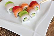 Assortment of Sushi Maki, with salmon, avocado and fish