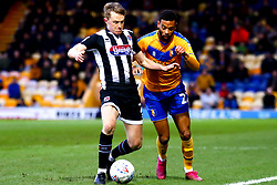 Luke Hendrie of Grimsby Town attempts to hold off CJ Hamilton of Mansfield Town - Mandatory by-line: Ryan Crockett/JMP - 04/01/2020 - FOOTBALL - One Call Stadium - Mansfield, England - Mansfield Town v Grimsby Town - Sky Bet League Two