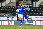 Cardiff City defender Sean Morrison (4) on the ball during the EFL Sky Bet Championship match between Derby County and Cardiff City at the Pride Park, Derby, England on 28 October 2020.