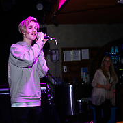 London,England,UK. 14th May 2017. Singer Cal Turner preforms at the after party of the BBL Play-Off Finals also fundraising for Hoops Aid 2017 but also a major fundraising opportunity for the Sports Traider Charity at London's O2 Arena, UK. by See Li