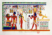 Copy of a fresco in the small Temple of Memnon (Amenhotep) at El Kab (Hillal - Nekheb), 1841.    Nestor l'Hote (1804-1842) French Egyptologist. God Horus enthroned and Pharoah (left).  Archaeology Religion Mythology Ancient Egyptian