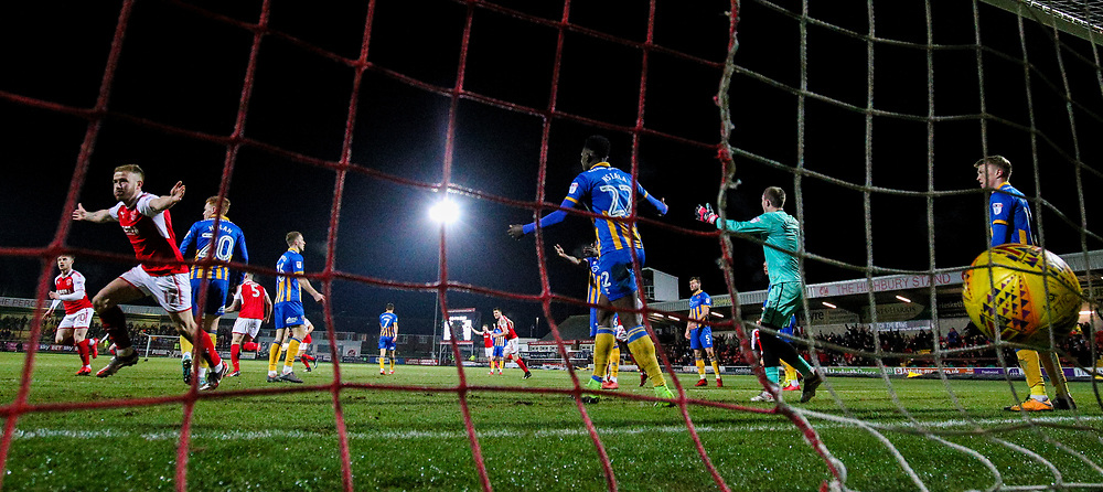 Fleetwood Town's Paddy Madden celebrates scoreing his side's first goal  <br /> <br /> Photographer Alex Dodd/CameraSport<br /> <br /> The EFL Sky Bet League One - Fleetwood Town v Shrewsbury Town - Tuesday 13th February 2018 - Highbury Stadium - Fleetwood<br /> <br /> World Copyright © 2018 CameraSport. All rights reserved. 43 Linden Ave. Countesthorpe. Leicester. England. LE8 5PG - Tel: +44 (0) 116 277 4147 - admin@camerasport.com - www.camerasport.com