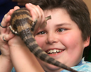 Times Herald-Record/TOM BUSHEY.Kenneth Culter gets a close look at a blue-tongued skink that instructor Jan Berlin brought to the Club Rec at Port Jervis afterschool program at Anna S. Kuhl Elementary School..March 21, 2002.