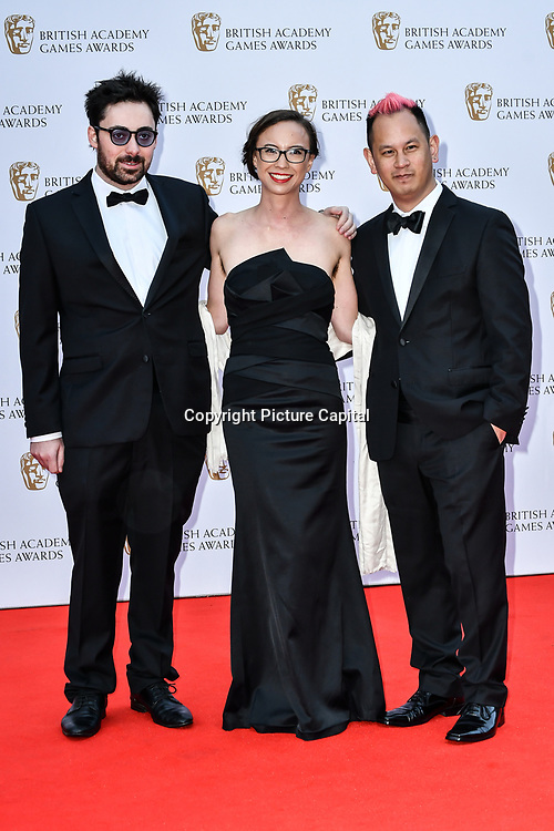 Kevin Penkin, Kamina Vincent and Ken Wong Arrivers at the British Academy (BAFTA) Games Awards at Queen Elizabeth Hall, Southbank Centre  on 4 March 2019, London, UK.