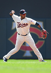 May 2, 2018 - Minneapolis, MN, U.S. - MINNEAPOLIS, MN - MAY 02: Minnesota Twins Infield Gregorio Petit (40) throws to 1st during a MLB game between the Minnesota Twins and Toronto Blue Jays on May 2, 2018 at Target Field in Minneapolis, MN.The Twins defeated the Blue Jays 4-0.(Photo by Nick Wosika/Icon Sportswire) (Credit Image: © Nick Wosika/Icon SMI via ZUMA Press)