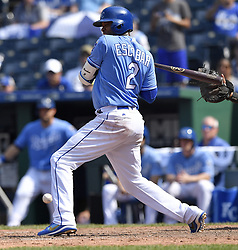 July 23, 2017 - Kansas City, MO, USA - A pitch from Chicago White Sox relief pitcher Gregory Infante bounces off the hand of Kansas City Royals' Alcides Escobar in the ninth inning on Sunday, July 23, 2017 at Kauffman Stadium in Kansas City, Mo. (Credit Image: © John Sleezer/TNS via ZUMA Wire)