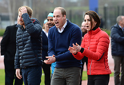 The Duke and Duchess of Cambridge and Prince Harry will joined a training day with the runners taking part in the 2017 Virgin Money London Marathon for Heads Together, the official Charity of the Year. The training day for Team Heads Together, the campaign to change the conversation on mental health which is spearheaded by Their Royal Highnesses took place at the Queen Elizabeth Olympic Park (QEOP) in London on Sunday 5th February. Photo copyright should read Doug Peters/EMPICS Entertainment
