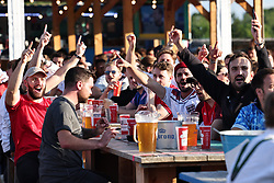 © Licensed to London News Pictures. 07/07/2021. London, UK. Football fans enjoy the atmosphere at Tobacco Dock before the Euro 2020 semi-final between England and Denmark begins at Wembley Stadium. Photo credit: Rob Pinney/LNP