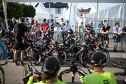 CANYON//SRAM Racing riders focus before the start of the Crescent Vargarda - a 42.5 km team time trial, starting and finishing in Vargarda on August 11, 2017, in Vastra Gotaland, Sweden. (Photo by Balint Hamvas/Velofocus.com)