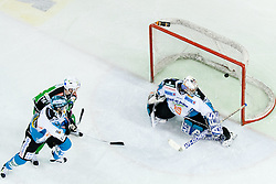 Puck in the net behind Alex Westlund (EHC Liwest Linz, #32) during ice-hockey match between HDD Tilia Olimpija and EHC Liwest Black Wings Linz at fourth match in Semifinal  of EBEL league, on March 13, 2012 at Hala Tivoli, Ljubljana, Slovenia. (Photo By Matic Klansek Velej / Sportida)