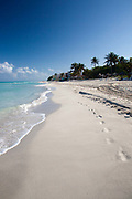 Varadero beach with footprints on it, Matanzas province, Cuba's most popular beach resort welcoming thousands of guests every year from all over the world.