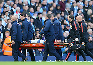 Marcos Rojo of Manchester United is stretchered off injured - Barclays Premier League - Manchester City vs Manchester Utd - Etihad Stadium - Manchester - England - 2nd November 2014  - Picture David Klein/Sportimage