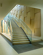 dramatic staircase at a hospital reception