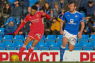 Swindon Town forward Keshi Anderson attacks the ball during the EFL Sky Bet League 2 match between Chesterfield and Swindon Town at the Proact stadium, Chesterfield, England on 24 February 2018. Picture by Aaron  Lupton.